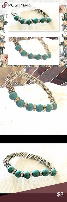 Turquoise Stretch Bracelet Turquoise beads with Crystal resin beads .  Adjustable stretch Boutique Jewelry Bracelets