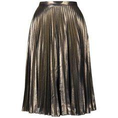 Petite Topshop Metallic Pleated Midi Skirt ($130) ❤ liked on Polyvore featuring…