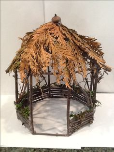 Gazebo for fairy garden would be easy to make using a empty coffee can as a guide