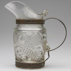 MAKE-DO HORN OF PLENTY PRESSED GLASS WATER PITCHER