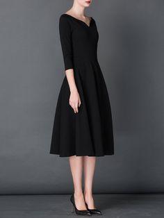 Vintage 3/4 Sleeve A-line Shirred V neck Midi Dress