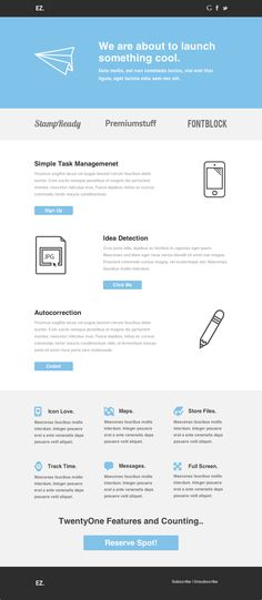 EZ - Flexible E-mail Template via ThemeForest #mailchimp Get this template from: http://themeforest.net/?ref=Vision7Studio