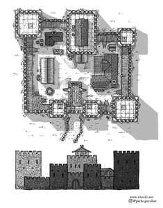 A hand drawn top-down map and side view of a medieval fantasy castle. Useful for tabletop roleplaying games like Dungeons & Dragons. Fantasy City Map, Fantasy Village, Fantasy Town, Fantasy World Map, Fantasy Castle, Medieval Fantasy, Chateau Medieval, Medieval Castle, Fantasy Art