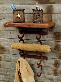 western home decorating ideas   Rustic Horseshoe Towel Holder - Reclaimed Furniture Design Ideas