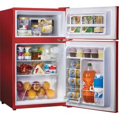 Red Retro Mini Fridge w Freezer 3 2 CU ft Small Free Standing Compact Dorm