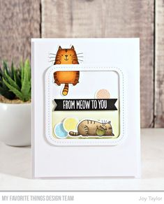 Stamps: Cool Cat Die-namics: Cool Cat, Single Stitch Line Rounded Square Frame, Essential Fishtail Sentiment Strips Joy Taylor Mama Elephant Cards, Stitch Lines, Square Card, Mft Stamps, Cat Cards, Animal Cards, Card Making Inspiration, Scrapbook Cards, Scrapbooking