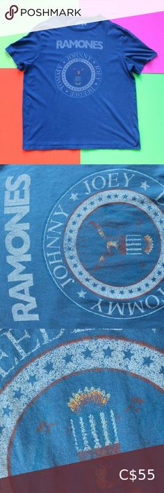 "Single Stitch Ramones Blue T-Shirt Single Stitch Ramones Blue T-Shirt  SIZE: XXlarge Great condition! CHEST 26"" BACK 30.5"" BRAND: 1234 FABRIC: n/a Country of origin: Guatemala Colour: Blue TheBandTee.Shop 1234 Shirts Tees - Short Sleeve"