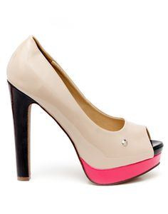 LEVI'S FOOTWEAR   Onyx Peep Toe Platform Heels in Stone - Women - Style36