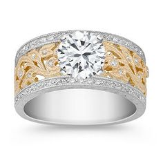 Vintage Diamond Two-Tone Engagement Ring with Pave Setting  LOVE this RING!!!!