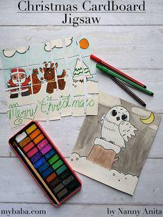 Christmas Cardboard Jigsaw Busy Bag | Nanny Anita | My Baba Art For Kids Hub, Crafts For Kids, Arts And Crafts, Christmas Pictures, Christmas Themes, Christmas Crafts, Owl Pictures, Cardboard Packaging, Toss Game