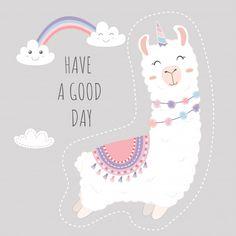 Cute llama unicorn and rainbow floating in the sky. - Buy this stock vector and explore similar vectors at Adobe Stock Alpacas, Birthday Card Template, Birthday Cards, Alpaca Illustration, Llama Arts, Cute Kawaii Girl, Llama Birthday, Funny Phone Wallpaper, Cute Llama