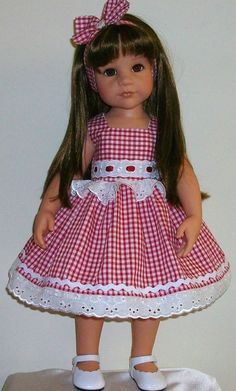 Vintagebaby gingham lace dress alice band for 18 dolls Designafriend/Gotz American Girl Outfits, American Girl Dress, American Doll Clothes, Sewing Doll Clothes, Girl Doll Clothes, Girl Dolls, Doll Dress Patterns, Doll Costume, Little Girl Dresses