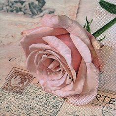 Now just in! Postcard Rose #shabbychicpinkrose #decoupagenapkin #postcard #postagestamps #oldwritings