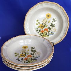 Mikasa Garden Club Fresh Floral Soup Bowls Set of 4 Vintage 8 Inch Japan Fine China Dinnerware, Wine Painting, Soup Bowl Set, Garden Club, Noritake, Vintage Dishes, Royal Doulton, Mikasa, Vintage Japanese