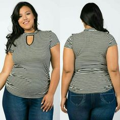 Plus Size Stripe Top New Stretch Ruched sides 97% rayon 3% spandex Ivory and black Libian Tops Blouses