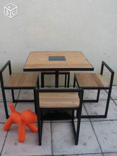 Table + 4 chaises teck massif métal noir design