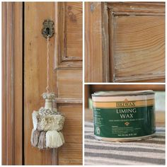 """Liming wax on pine for a beautiful """"my cupboard looks this way because it's a wonderful antique that has been lovingly used for many, many years"""" look :)"""
