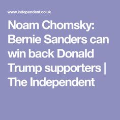 Noam Chomsky: Bernie Sanders can win back Donald Trump supporters | The Independent