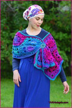 Crochet Tutorial: Jewel-Tone Lotus Wrap « YARNutopia by Nadia Fuad