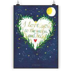 Poster DIN A3 Love u to the moon & back aus Papier 160 Gramm  weiß - Das Original von Mr. & Mrs. Panda.  Jedes wunderschöne Poster aus dem Hause Mr. & Mrs. Panda ist mit Liebe handgezeichnet und entworfen. Wir liefern es sicher und schnell im Format DIN A3 zu dir nach Hause.    Über unser Motiv Love u to the moon & back  I love you to the moon and back - diese Worte können noch nicht annähernd beschreiben, wie wichtig uns unser Partner ist.     Verwendete Materialien  Es handelt sich um sehr…