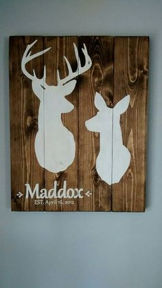 Check out this item in my Etsy shop https://www.etsy.com/listing/217377185/custom-buck-and-doe-sign-with-name Tags: Nursery, baby, hunting, lodge, cabin, distressed, rustic, old, antique, deer, stag, rack, christian, verse, bow, arrow, woods, venison, hunt, hunter, camo, wedding, anniversary, house warming, new home, marriage, engagement, couple, family, child, birthday, birthdate