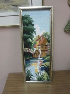 "Vintage Hand Made Stitched Needlepoint Framed 6-1/2"" x 18"" - 8"" x 20"" #Unbranded"