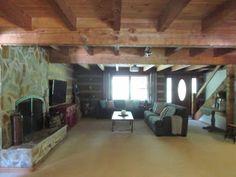 Living Room Stone Fireplace | Hood Creek Log Cabin