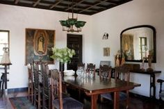 Rustic Dining Room in Hollywood Hills, California