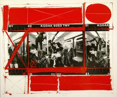 William KLEIN :: from Painted Contacts series [Dance group in Metro, Paris, 1991]