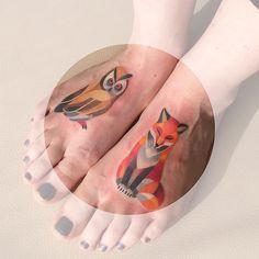 owl and fox tattoo - Sasha Unisex