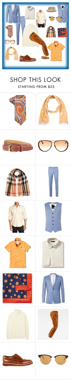 """""""Complementary Mens cluster- #AnaelEnvisage 05"""" by anaelenvisage on Polyvore featuring Countess Mara, Tonello, The British Belt Company, Tom Ford, Burberry, Topman, Bugatchi, Hollister Co., Lands' End and Uniqlo"""