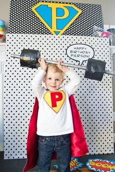 Superhero themed photo booth prop idea:  But it made me think of a 'strong man' contest for relay.