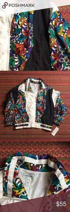 """VINTAGE DEADSTOCK TROPICAL RAINBOW WINDBREAKER Deadstock vintage find, TAG STILL ATTACHED! This baby is such a winner 😍 Yin/yang Black & white with dope tropical rainbow print. Totally 80's with shoulder pads. Unisex size large. Chest 26"""" 