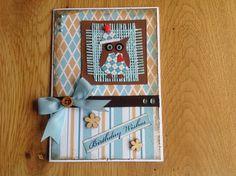 Scrap card owl, blue - Scrapkaart uil, blauw