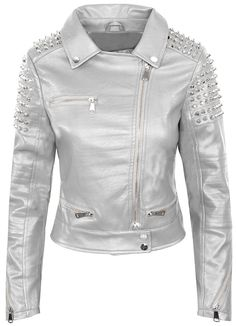 cdd6873b66fc Women Silver Color Biker Leather Jacket With Silver Studs Front Zipper  Sleeves Features  100 % Genuine Cowhide Leather to MM Cowhide Milled  Leather used ...