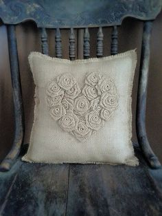13 x 13  Natural Burlap Rosette Heart Pillow by theartsyhippie, $35.00