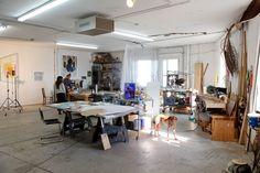 Claude Collins-Stracensky, artist...love dogs in the studio!