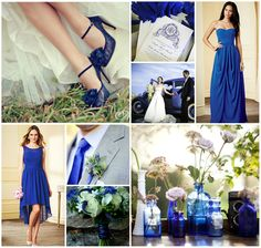 Inspiration for a vibrant royal blue wedding. Love the light grey suit with a white shirt and royal blue tie