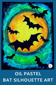 Create gorgeous Oil Pastel Bat Silhouette Art with the kids this Halloween. An easy Halloween art project for kids that exploring blending colours. This project comes with a free printable bat template #halloween #easyart #artforkids #teacherresources #artforkids #kidsart