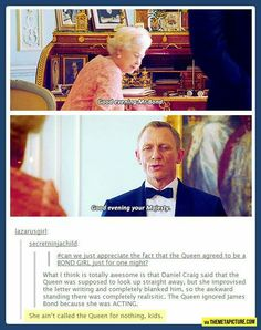 The actual Queen and James Bond.