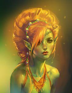 quick portrait. Green elf lady.