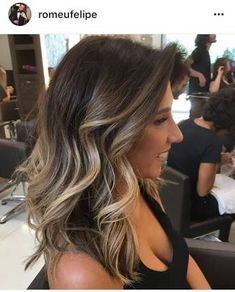 Resultado de imagem para light brown balayage on dark hair