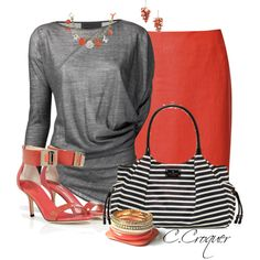 """Podolyan Blouse & Coral"" by ccroquer on Polyvore"