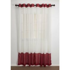 """Home Studio Two-Tone Banded Curtains - 84"""", Crushed Voile, Grommet Top - SIENNA/IVORY by Home Studio. $23.00. CLOSEOUTS . Add a little color to your window without completely blocking the sunlight with Home Studio's two-tone banded curtains. Bands of color at the header and on the hem Semi-sheer, crushed voile has a crinkled texture Fits rods up to 1-½"""" Grommet top Grommet hole : 1-5/8"""" Dimensions (WxL): Two panels, each 50x84"""" Fabric: Polyester Care: Machine wash, hang ..."""