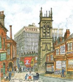George Cunningham: Streets of Broomhall ~ Part 1 Weston Park, Hanover Street, Roads And Streets, Big Building, Historical Society, Sheffield, Cool Artwork, Love Art, Old Houses