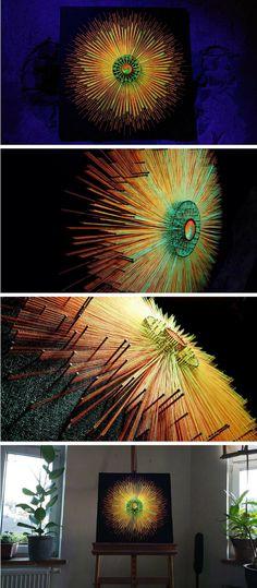 Gorgeous String Art Mandala, Future Design, UV, Black Light, 3D Art, Space Concept Art snowflake UV active string art #stringart #wallart #3dart #ad #homedecor #uniquegifts #glowinthedark #UV #blacklight #conceptart #gorgeous #multilayer