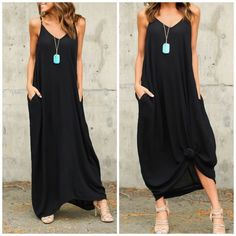 New Arrival • Black Cocoon Maxi Dress Shirtdress Beautiful cocoon maxi dress with two side pocket details . Half Lined gauze with adjustable bra straps . Oversized Loose style nwot. Black size down for less fabric . Nwot Shirt dress Vivacouture Dresses Maxi