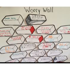 """Worry Wall activity. Read """"Wemberly Worried,"""" and then identified things that make us worry. Discussed strategies to defeated the Unthinkable Worry Wall when we worry too much."""