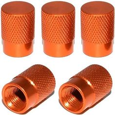 """Amazon.com : (5 Count) Cool and Custom """"Diamond Etching Flat Top with Easy Grip Texture"""" Tire Wheel Rim Air Valve Stem Dust Cap Seal Made of Genuine Anodized Aluminum Metal {Copper Honda Orange Color - Hard Metal Internal Threads for Easy Application - Rust Proof - Fits For Most Cars, Trucks, SUV, RV, ATV, UTV, Motorcycle, Bicycles} : Sports & Outdoors"""