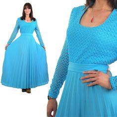 70s hippie dress pleated maxi dress Boho maxi dress lace dress Blue dress Boho bridal Dress Prairie Dress Festival dress Gypsy dress by SHABBYBABEVINTAGE on Etsy